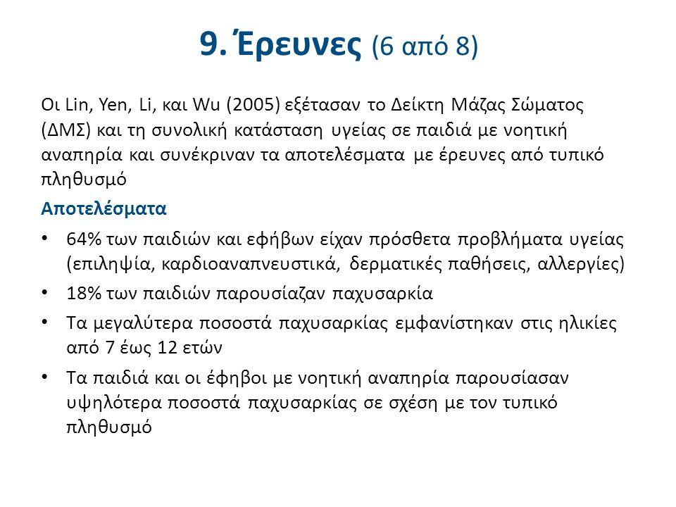 9. Έρευνες (6 από 8) Οι Lin, Yen, Li, και Wu (2005) εξέτασαν το Δείκτη Μάζας Σώματος (ΔΜΣ) και τη συνολική κατάσταση υγείας σε παιδιά με νοητική αναπη
