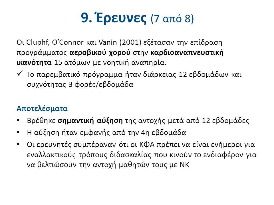9. Έρευνες (7 από 8) Οι Cluphf, O'Connor και Vanin (2001) εξέτασαν την επίδραση προγράμματος αεροβικού χορού στην καρδιοαναπνευστική ικανότητα 15 ατόμ