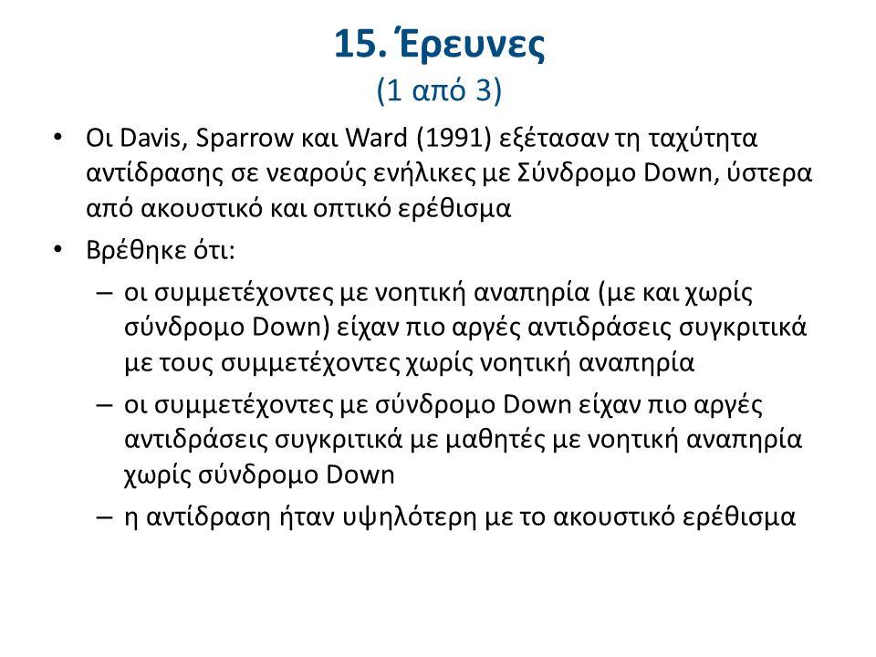 15. Έρευνες (1 από 3) Οι Davis, Sparrow και Ward (1991) εξέτασαν τη ταχύτητα αντίδρασης σε νεαρούς ενήλικες με Σύνδρομο Down, ύστερα από ακουστικό και