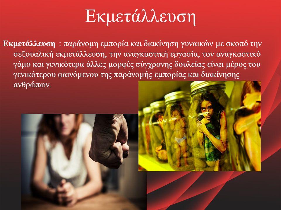 Εκμετάλλευση Εκμετάλλευση : παράνομη εμπορία και διακίνηση γυναικών με σκοπό την σεξουαλική εκμετάλλευση, την αναγκαστική εργασία, τον αναγκαστικό γάμο και γενικότερα άλλες μορφές σύγχρονης δουλείας είναι μέρος του γενικότερου φαινόμενου της παράνομής εμπορίας και διακίνησης ανθρώπων.
