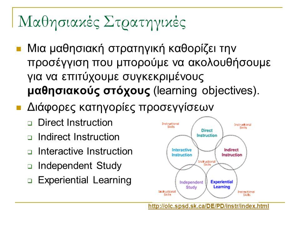 Μαθησιακές Στρατηγικές Μια μαθησιακή στρατηγική καθορίζει την προσέγγιση που μπορούμε να ακολουθήσουμε για να επιτύχουμε συγκεκριμένους μαθησιακούς στ