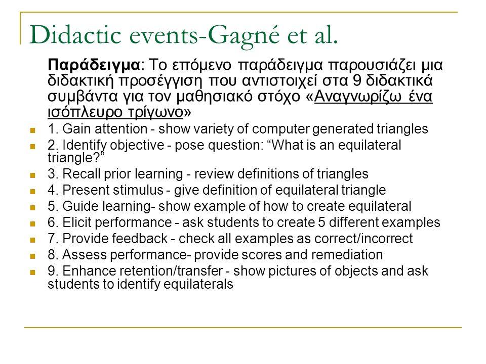Didactic events-Gagné et al. Παράδειγμα: Το επόμενο παράδειγμα παρουσιάζει μια διδακτική προσέγγιση που αντιστοιχεί στα 9 διδακτικά συμβάντα για τον μ