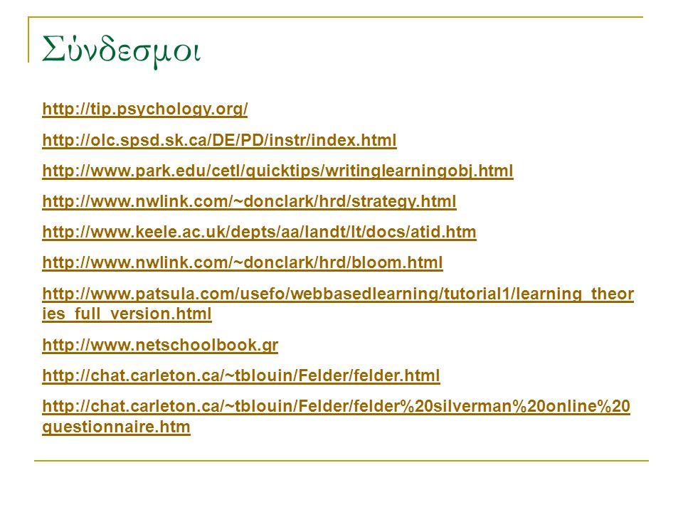 Σύνδεσμοι http://tip.psychology.org/ http://olc.spsd.sk.ca/DE/PD/instr/index.html http://www.park.edu/cetl/quicktips/writinglearningobj.html http://ww