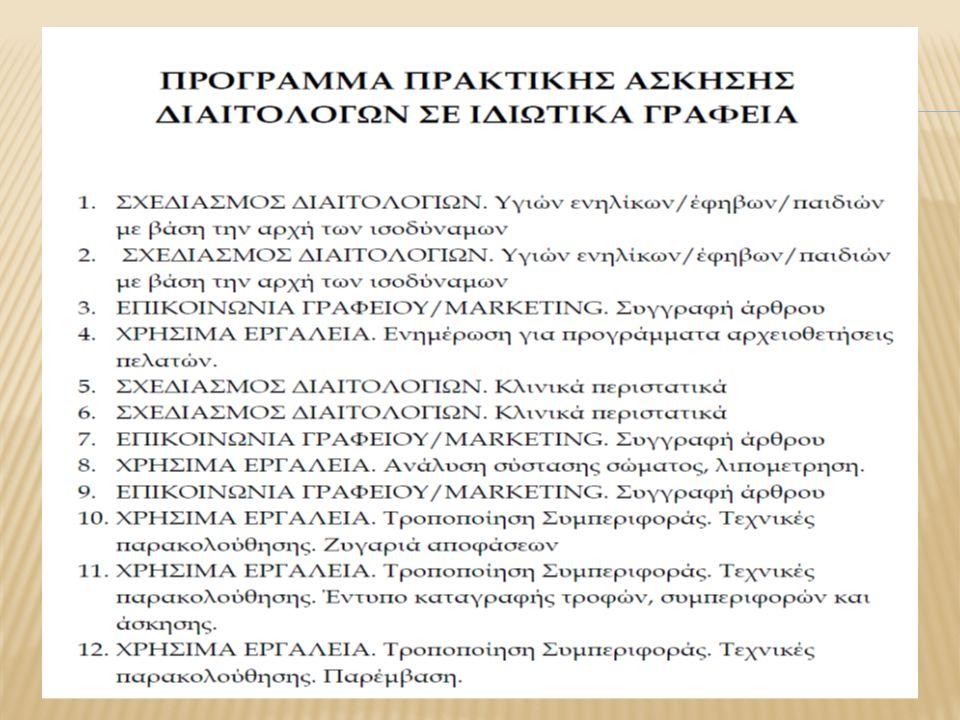  Διατροφική εκπαίδευση  Έλεγχος ερεθίσματος  Φυσική Δραστηριότητα  Στόχοι συνεδρίας  Καθημερινή καταγραφή επίτευξης στόχων  Αναγνώριση και αντιμετώπιση εμποδίων