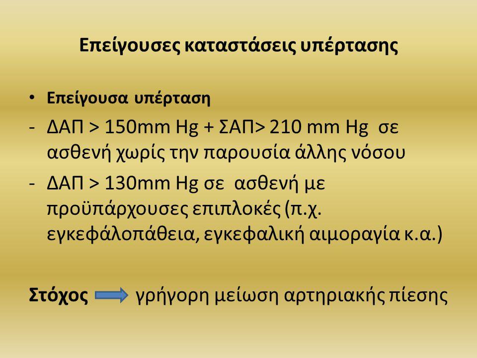 Επείγουσες καταστάσεις υπέρτασης Επείγουσα υπέρταση -ΔΑΠ > 150mm Hg + ΣΑΠ> 210 mm Hg σε ασθενή χωρίς την παρουσία άλλης νόσου -ΔΑΠ > 130mm Hg σε ασθεν