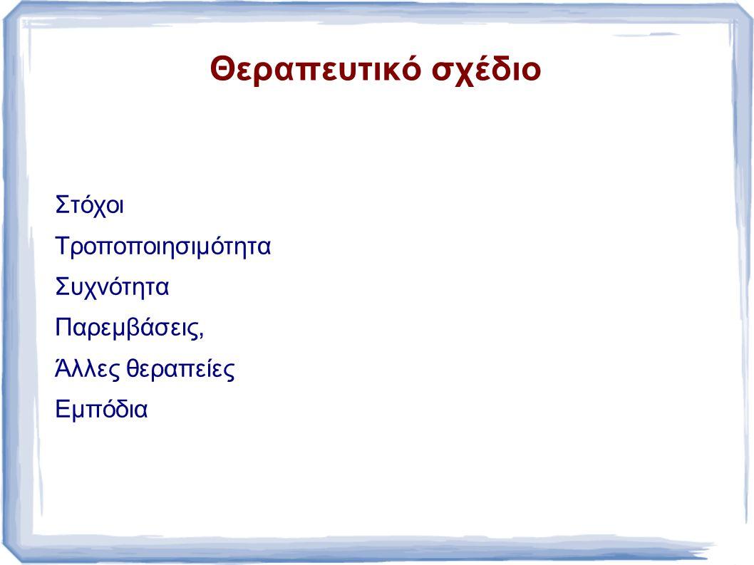 Θεραπευτικό σχέδιο Στόχοι Τροποποιησιμότητα Συχνότητα Παρεμβάσεις, Άλλες θεραπείες Εμπόδια