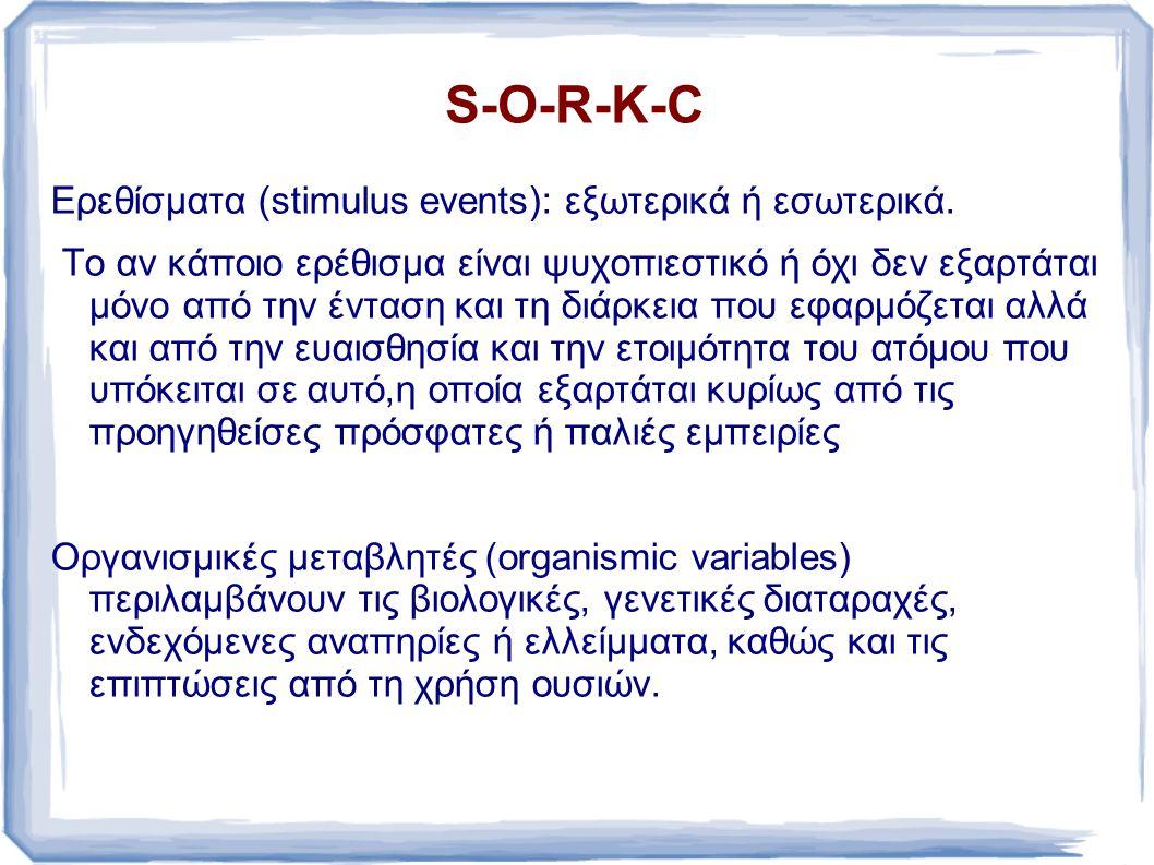 S-O-R-K-C Ερεθίσματα (stimulus events): εξωτερικά ή εσωτερικά.