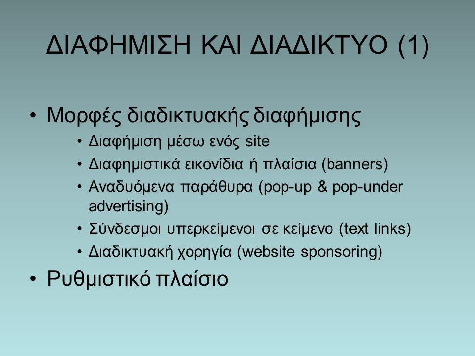 ΔΙΑΦΗΜΙΣΗ ΚΑΙ ΔΙΑΔΙΚΤΥΟ (1) Μορφές διαδικτυακής διαφήμισης Διαφήμιση μέσω ενός site Διαφημιστικά εικονίδια ή πλαίσια (banners) Αναδυόμενα παράθυρα (pop-up & pop-under advertising) Σύνδεσμοι υπερκείμενοι σε κείμενο (text links) Διαδικτυακή χορηγία (website sponsoring) Ρυθμιστικό πλαίσιο