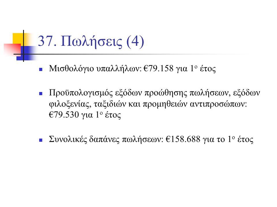 37. Πωλήσεις (4) Μισθολόγιο υπαλλήλων: €79.158 για 1 ο έτος Προϋπολογισμός εξόδων προώθησης πωλήσεων, εξόδων φιλοξενίας, ταξιδιών και προμηθειών αντιπ