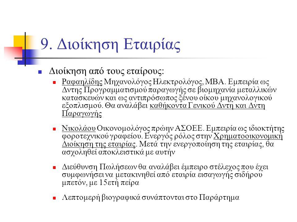 9. Διοίκηση Εταιρίας Διοίκηση από τους εταίρους: Ραφαηλίδης Μηχανολόγος Ηλεκτρολόγος, ΜΒΑ.