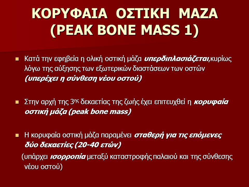 ΚΟΡΥΦΑΙΑ ΟΣΤΙΚΗ ΜΑΖΑ (PEAK BONE MASS 1) Κατά την εφηβεία η ολική οστική μάζα υπερδιπλασιάζεται,κυρίως λόγω της αύξησης των εξωτερικών διαστάσεων των ο