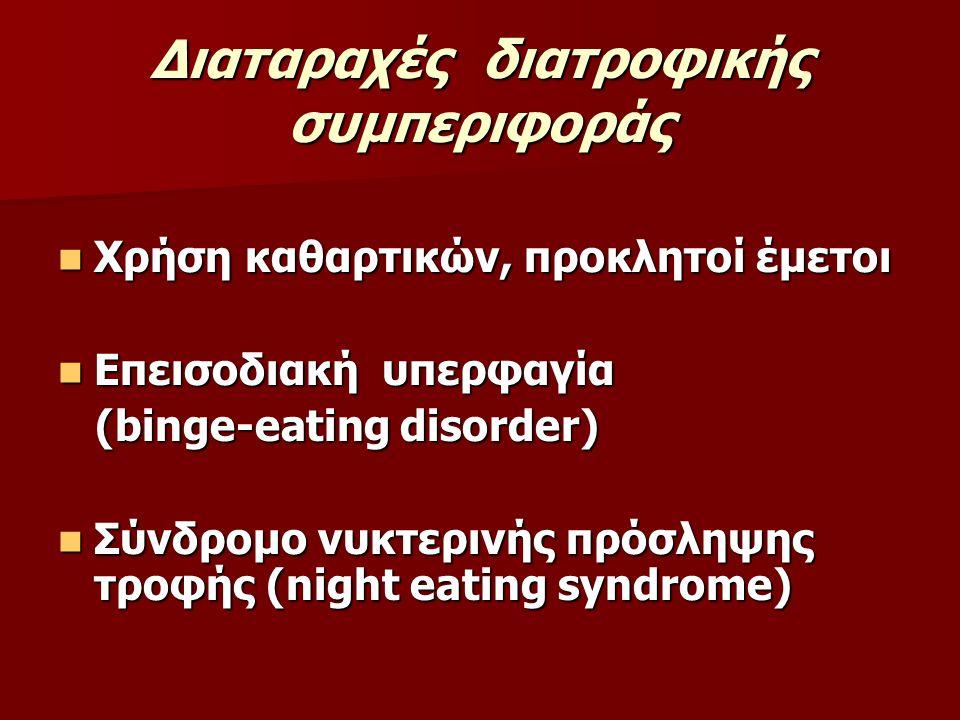 Διαταραχές διατροφικής συμπεριφοράς Χρήση καθαρτικών, προκλητοί έμετοι Χρήση καθαρτικών, προκλητοί έμετοι Επεισοδιακή υπερφαγία Επεισοδιακή υπερφαγία