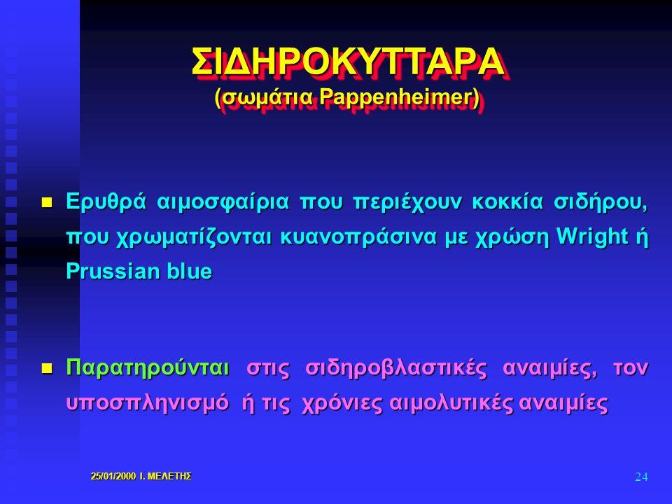 25/01/2000 Ι. ΜΕΛΕΤΗΣ 24 ΣΙΔΗΡΟΚΥΤΤΑΡΑ (σωμάτια Pappenheimer) n Ερυθρά αιμοσφαίρια που περιέχουν κοκκία σιδήρου, που χρωματίζονται κυανοπράσινα με χρώ