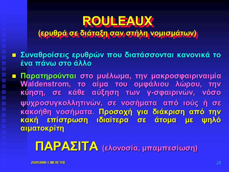 25/01/2000 Ι. ΜΕΛΕΤΗΣ 28 ROULEAUX (ερυθρά σε διάταξη σαν στήλη νομισμάτων) n Συναθροίσεις ερυθρών που διατάσσονται κανονικά το ένα πάνω στο άλλο n Παρ