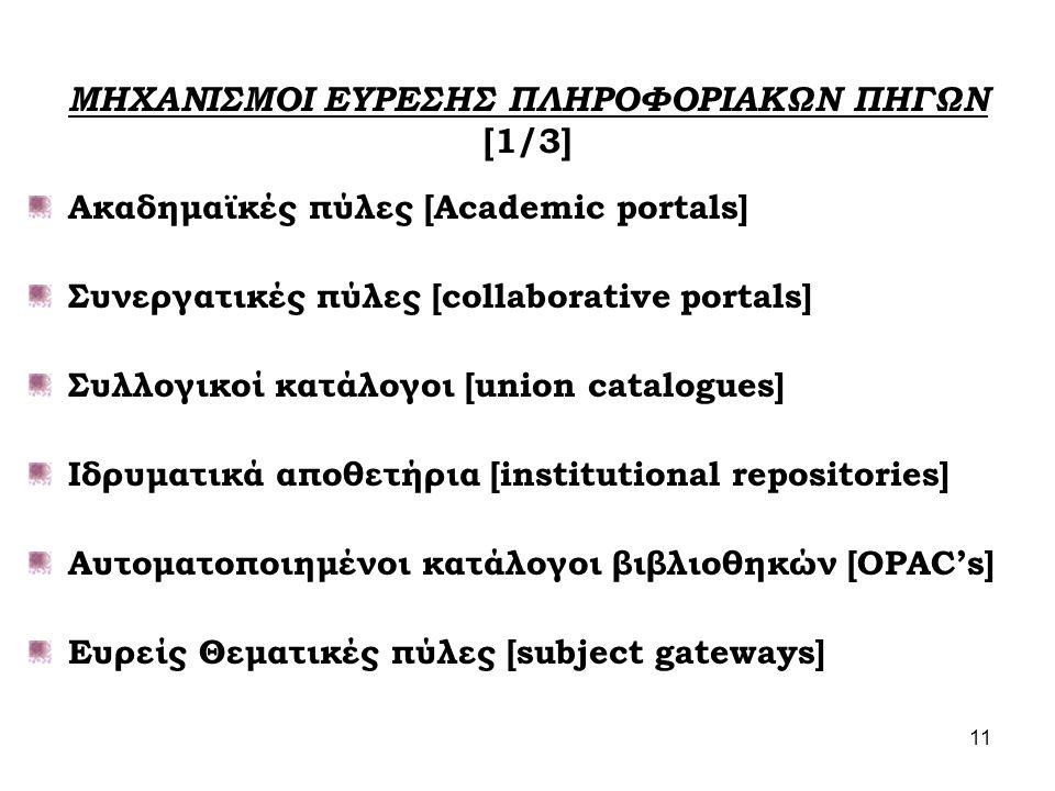 11 ΜΗΧΑΝΙΣΜΟΙ ΕΥΡΕΣΗΣ ΠΛΗΡΟΦΟΡΙΑΚΩΝ ΠΗΓΩΝ [1/3] Ακαδημαϊκές πύλες [Academic portals] Συνεργατικές πύλες [collaborative portals] Συλλογικοί κατάλογοι [union catalogues] Ιδρυματικά αποθετήρια [institutional repositories] Αυτοματοποιημένοι κατάλογοι βιβλιοθηκών [OPAC's] Ευρείς Θεματικές πύλες [subject gateways]