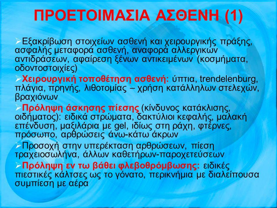 ΠΡΟΕΤΟΙΜΑΣΙΑ ΑΣΘΕΝΗ (1)  Εξακρίβωση στοιχείων ασθενή και χειρουργικής πράξης, ασφαλής μεταφορά ασθενή, αναφορά αλλεργικών αντιδράσεων, αφαίρεση ξένων