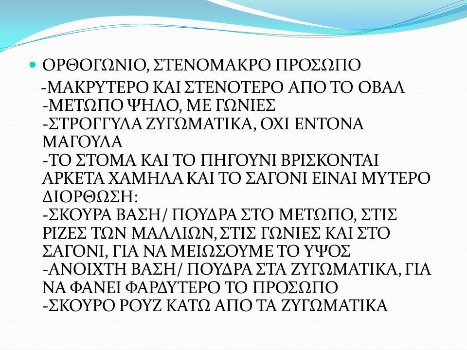 ΟΡΘΟΓΩΝΙΟ, ΣΤΕΝΟΜΑΚΡΟ ΠΡΟΣΩΠΟ -ΜΑΚΡΥΤΕΡΟ ΚΑΙ ΣΤΕΝΟΤΕΡΟ ΑΠΟ ΤΟ ΟΒΑΛ -ΜΕΤΩΠΟ ΨΗΛΟ, ΜΕ ΓΩΝΙΕΣ -ΣΤΡΟΓΓΥΛΑ ΖΥΓΩΜΑΤΙΚΑ, ΟΧΙ ΕΝΤΟΝΑ ΜΑΓΟΥΛΑ -ΤΟ ΣΤΟΜΑ ΚΑΙ ΤΟ