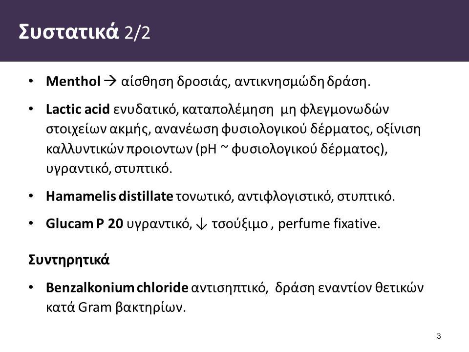 Συστατικά 2/2 Menthol  αίσθηση δροσιάς, αντικνησμώδη δράση.