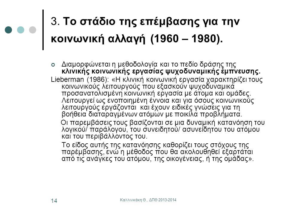 Καλλινικάκη Θ., ΔΠΘ 2013-2014 14 3. Το στάδιο της επέμβασης για την κοινωνική αλλαγή (1960 – 1980). Διαμορφώνεται η μεθοδολογία και το πεδίο δράσης τη