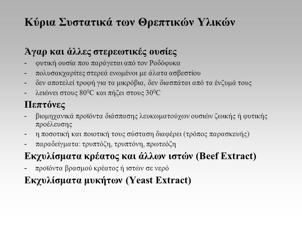 Κύρια Συστατικά των Θρεπτικών Υλικών Άγαρ και άλλες στερεωτικές ουσίες -φυτική ουσία που παράγεται από τον Ροδόφυκα -πολυσακχαρίτες στερεά ενωμένοι με