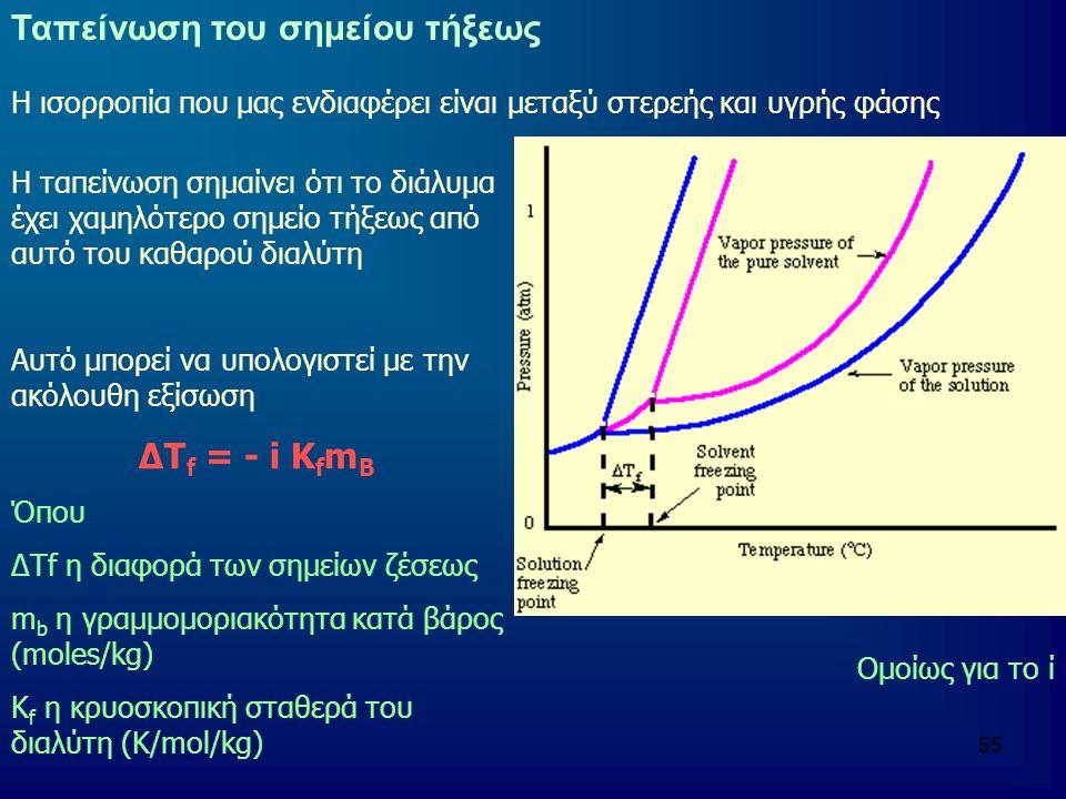 55 Ταπείνωση του σημείου τήξεως Η ισορροπία που μας ενδιαφέρει είναι μεταξύ στερεής και υγρής φάσης Η ταπείνωση σημαίνει ότι το διάλυμα έχει χαμηλότερο σημείο τήξεως από αυτό του καθαρού διαλύτη Αυτό μπορεί να υπολογιστεί με την ακόλουθη εξίσωση ΔΤ f = - i Κ f m B Όπου ΔΤf η διαφορά των σημείων ζέσεως m b η γραμμομοριακότητα κατά βάρος (moles/kg) K f η κρυοσκοπική σταθερά του διαλύτη (Κ/mol/kg) Ομοίως για το ί