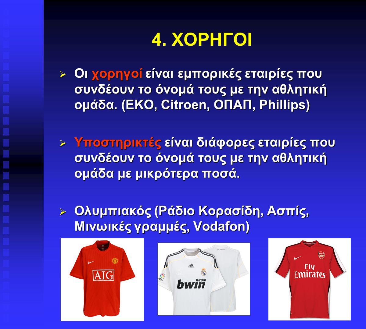 4. ΧΟΡΗΓΟΙ  Οι χορηγοί είναι εμπορικές εταιρίες που συνδέουν το όνομά τους με την αθλητική ομάδα. (EKO, Citroen, ΟΠΑΠ, Phillips)  Υποστηρικτές είναι