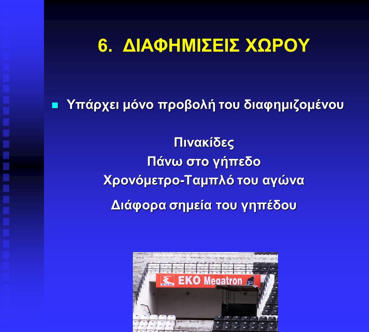 6. ΔΙΑΦΗΜΙΣΕΙΣ ΧΩΡΟΥ Υπάρχει μόνο προβολή του διαφημιζομένου Υπάρχει μόνο προβολή του διαφημιζομένουΠινακίδες Πάνω στο γήπεδο Χρονόμετρο-Ταμπλό του αγ
