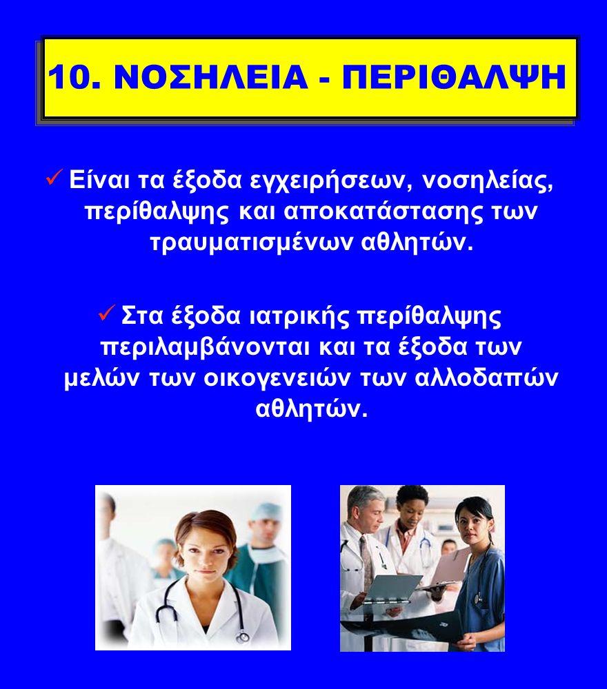10. ΝΟΣΗΛΕΙΑ - ΠΕΡΙΘΑΛΨΗ Είναι τα έξοδα εγχειρήσεων, νοσηλείας, περίθαλψης και αποκατάστασης των τραυματισμένων αθλητών. Στα έξοδα ιατρικής περίθαλψης