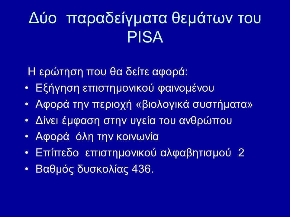 Δύο παραδείγματα θεμάτων του PISA Η ερώτηση που θα δείτε αφορά: Εξήγηση επιστημονικού φαινομένου Αφορά την περιοχή «βιολογικά συστήματα» Δίνει έμφαση