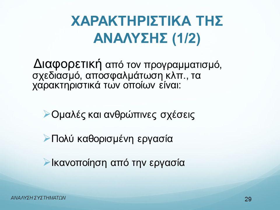 ΧΑΡΑΚΤΗΡΙΣΤΙΚΑ ΤΗΣ ΑΝΑΛΥΣΗΣ (1/2) Διαφορετική από τον προγραμματισμό, σχεδιασμό, αποσφαλμάτωση κλπ., τα χαρακτηριστικά των οποίων είναι:  Ομαλές και