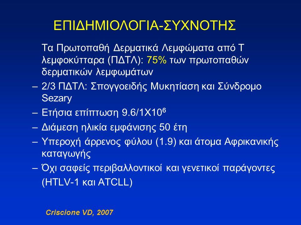 Ορισμός: Εξωλεμφαδενικά μη Hodgkin λεμφώματα προερχόμενα από κακοήθη κλωνικά ώριμα λεμφοκύτταρα, τα οποία διηθούν το δέρμα WHO – EORTC ταξινόμηση πρωτοπαθών δερματικών Τ και ΝΚ/Τ λεμφωμάτων Ιστολογικός τύπος Συχνότητα (%) 5ετής επιβίωση (%) Ποικιλίες σπογγοειδούς μυκητίασης Κλασική Κλασική Θυλακιοτρόπος Θυλακιοτρόπος Πατζετοειδής δικτύωση Πατζετοειδής δικτύωση Χαλαρό κοκκιωματώδες δέρμα Χαλαρό κοκκιωματώδες δέρμα444<1<18880100100 Σύνδρομο Sezary 324 T-λευχαιμία / λέμφωμα ενηλίκων Πρωτοπαθείς CD30+ λεμφοϋπερπλαστικές εξεργασίες 2095-100 Τ λέμφωμα τύπου υποδοριίτιδας 182 Εξωλεμφαδενικό ΝΚ/Τ λέμφωμα, ρινικού τύπου <1Επιθετικό Σπάνιοι τύποι πρωτοπαθών δερματικών περιφερικών Τ- λεμφωμάτων, μη περαιτέρω ταυτοποιούμενων <616-75 Πρωτοπαθή δερματικά Τ-λεμφώματα