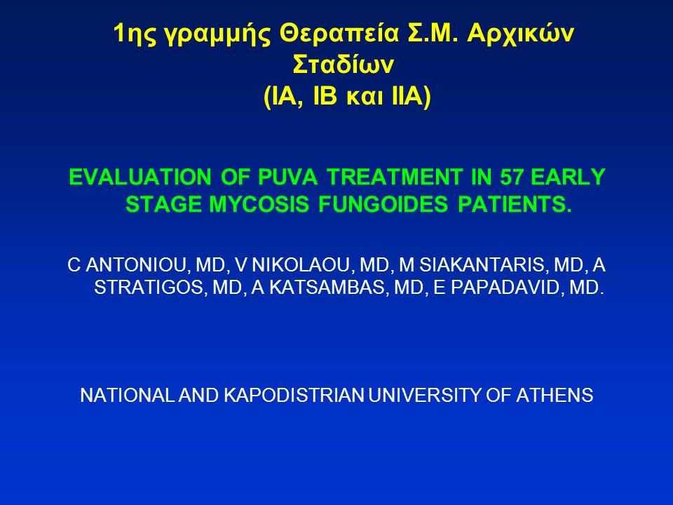 1ης γραμμής Θεραπεία Σ.Μ. Αρχικών Σταδίων (ΙΑ, ΙΒ και ΙΙΑ) EVALUATION OF PUVA TREATMENT IN 57 EARLY STAGE MYCOSIS FUNGOIDES PATIENTS. C ANTONIOU, MD,