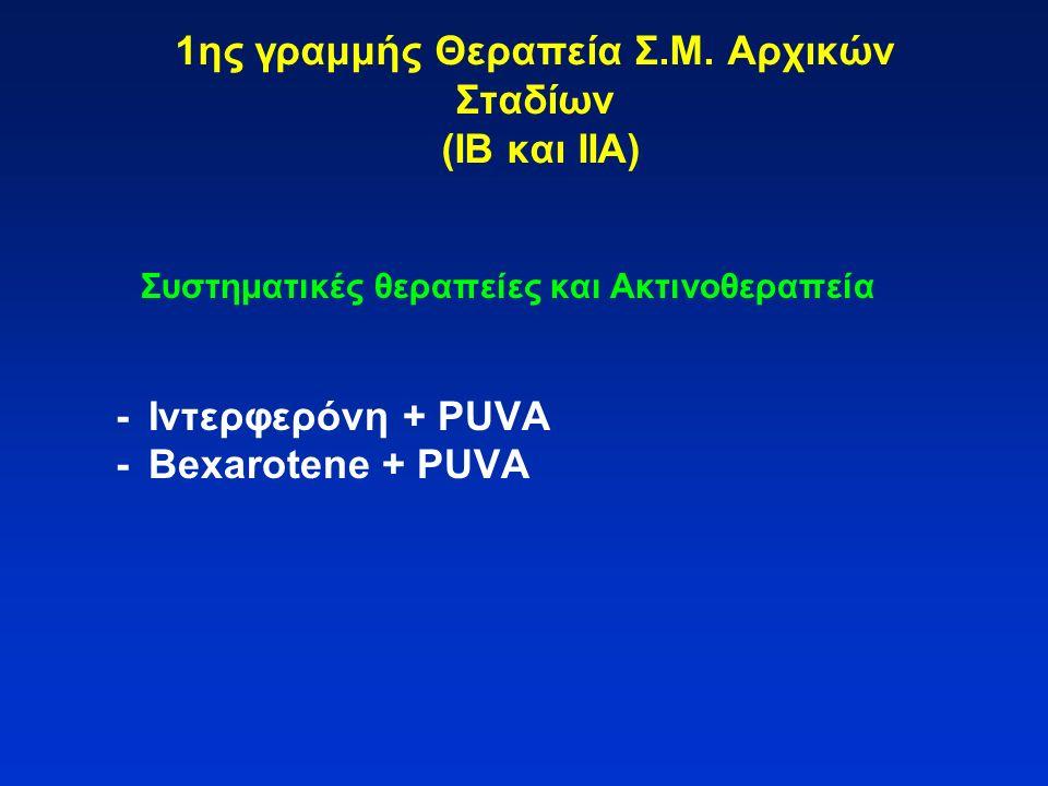 1ης γραμμής Θεραπεία Σ.Μ. Αρχικών Σταδίων (ΙΒ και ΙΙΑ) Συστηματικές θεραπείες και Ακτινοθεραπεία -Ιντερφερόνη + PUVA -Bexarotene + PUVA