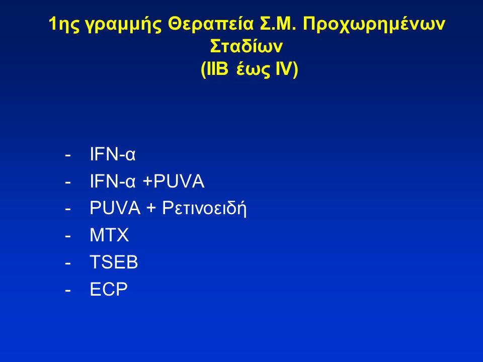 1ης γραμμής Θεραπεία Σ.Μ. Προχωρημένων Σταδίων (ΙΙΒ έως ΙV) -IFN-α -IFN-α +PUVA -PUVA + Ρετινοειδή -MTX -TSEB -ECP
