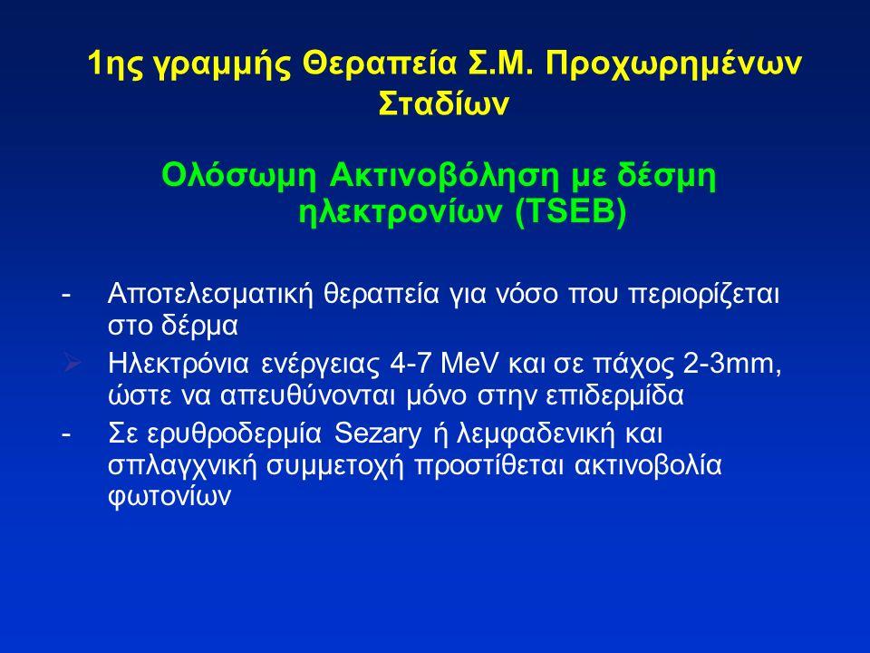 1ης γραμμής Θεραπεία Σ.Μ. Προχωρημένων Σταδίων Ολόσωμη Ακτινοβόληση με δέσμη ηλεκτρονίων (TSEB) -Αποτελεσματική θεραπεία για νόσο που περιορίζεται στο