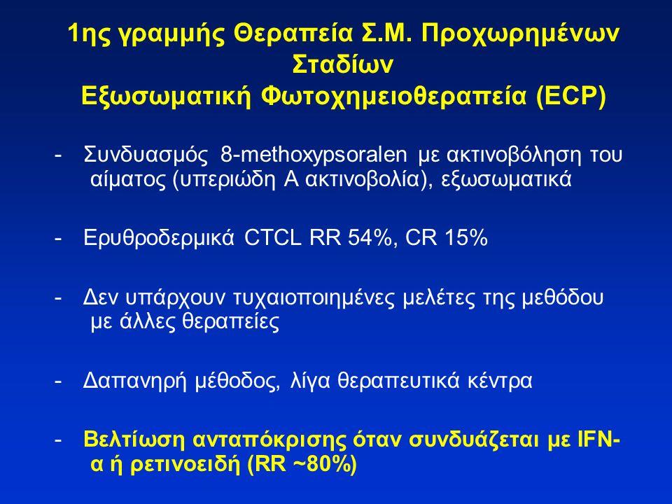 1ης γραμμής Θεραπεία Σ.Μ. Προχωρημένων Σταδίων Εξωσωματική Φωτοχημειοθεραπεία (ECP) -Συνδυασμός 8-methoxypsoralen με ακτινοβόληση του αίματος (υπεριώδ