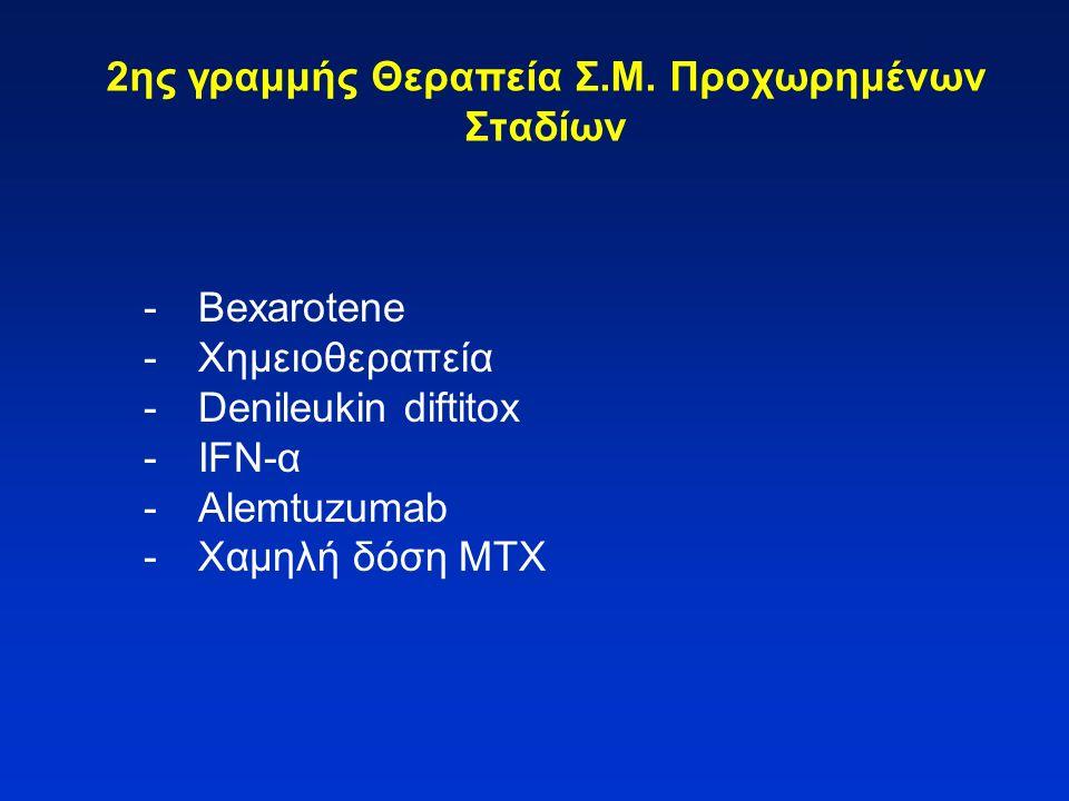 2ης γραμμής Θεραπεία Σ.Μ. Προχωρημένων Σταδίων -Bexarotene -Χημειοθεραπεία -Denileukin diftitox -IFN-α -Alemtuzumab -Χαμηλή δόση MTX