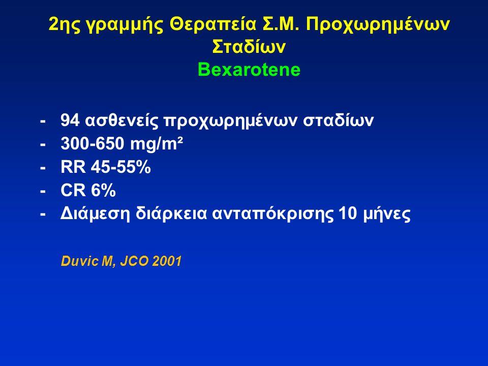 2ης γραμμής Θεραπεία Σ.Μ. Προχωρημένων Σταδίων Bexarotene -94 ασθενείς προχωρημένων σταδίων -300-650 mg/m² -RR 45-55% -CR 6% -Διάμεση διάρκεια ανταπόκ