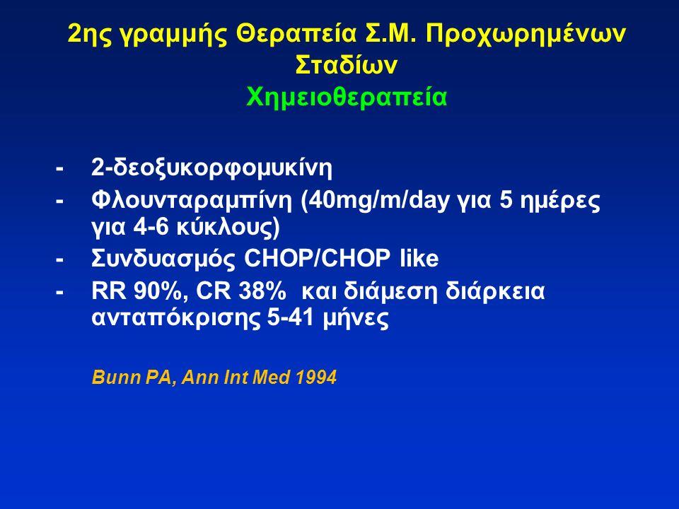 2ης γραμμής Θεραπεία Σ.Μ. Προχωρημένων Σταδίων Χημειοθεραπεία -2-δεοξυκορφομυκίνη -Φλουνταραμπίνη (40mg/m/day για 5 ημέρες για 4-6 κύκλους) -Συνδυασμό