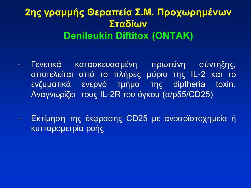 2ης γραμμής Θεραπεία Σ.Μ. Προχωρημένων Σταδίων Denileukin Diftitox (ONTAK) -Γενετικά κατασκευασμένη πρωτεiνη σύντηξης, αποτελείται από το πλήρες μόριο