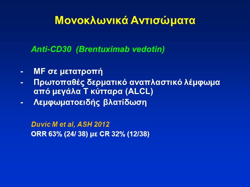 Μονοκλωνικά Αντισώματα Anti-CD30 (Brentuximab vedotin) -MF σε μετατροπή -Πρωτοπαθές δερματικό αναπλαστικό λέμφωμα από μεγάλα Τ κύτταρα (ALCL) -Λεμφωμα