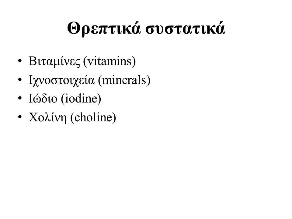 Θρεπτικά συστατικά Βιταμίνες (vitamins) Ιχνοστοιχεία (minerals) Ιώδιο (iodine) Χολίνη (choline)