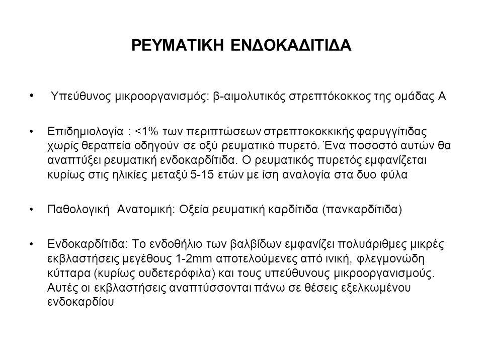 ΡΕΥΜΑΤΙΚΗ ΕΝΔΟΚΑΔΙΤΙΔΑ Υπεύθυνος μικροοργανισμός: β-αιμολυτικός στρεπτόκοκκος της ομάδας Α Επιδημιολογία : <1% των περιπτώσεων στρεπτοκοκκικής φαρυγγί