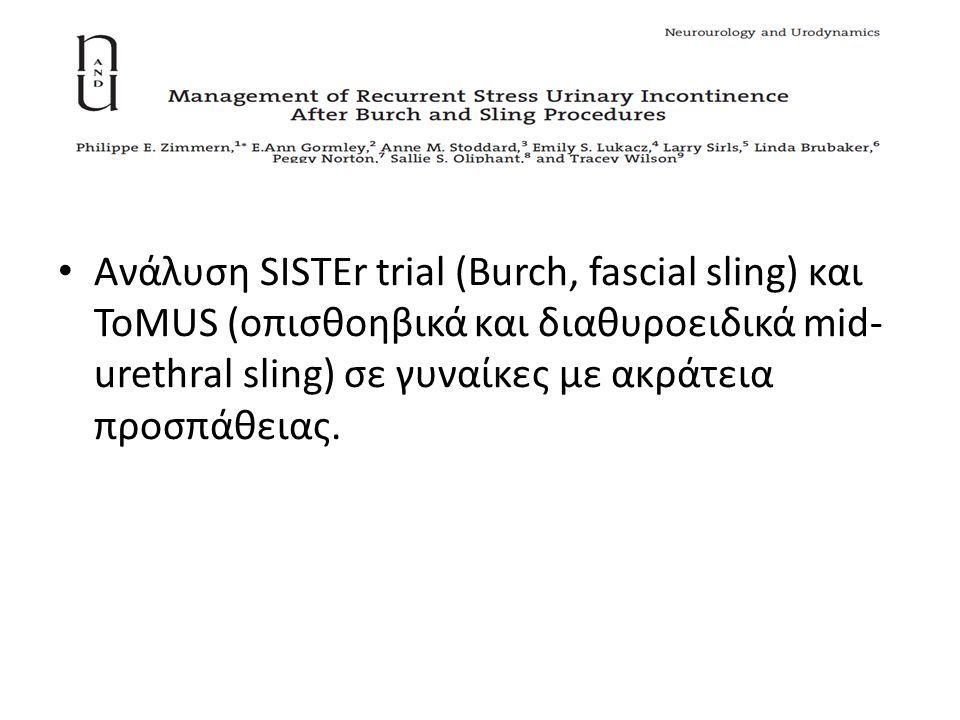 Ανάλυση SISTEr trial (Burch, fascial sling) και ToMUS (οπισθοηβικά και διαθυροειδικά mid- urethral sling) σε γυναίκες με ακράτεια προσπάθειας.