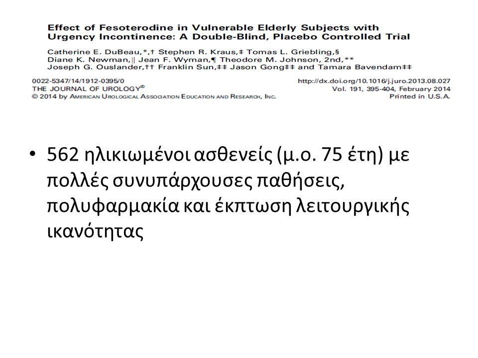 562 ηλικιωμένοι ασθενείς (μ.ο. 75 έτη) με πολλές συνυπάρχουσες παθήσεις, πολυφαρμακία και έκπτωση λειτουργικής ικανότητας