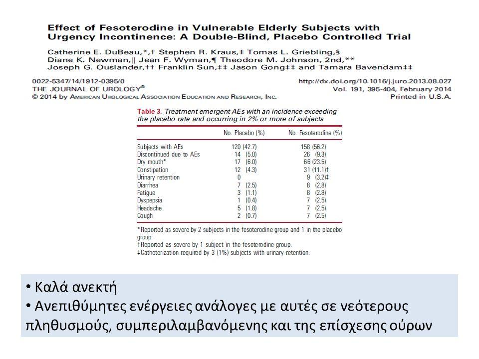 Καλά ανεκτή Ανεπιθύμητες ενέργειες ανάλογες με αυτές σε νεότερους πληθυσμούς, συμπεριλαμβανόμενης και της επίσχεσης ούρων