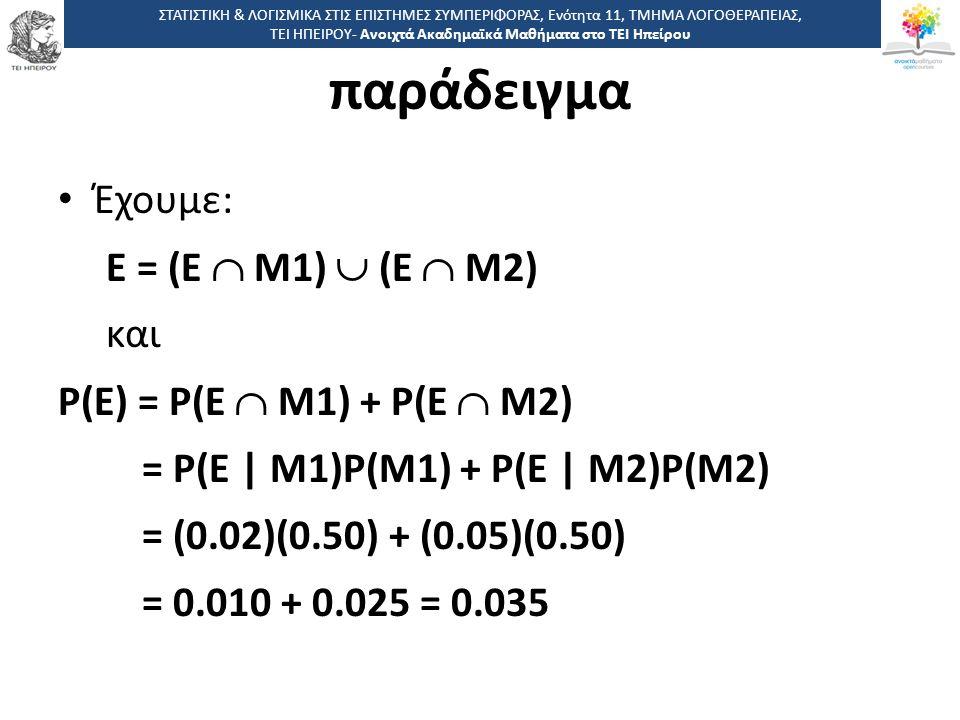 4 -,, ΤΕΙ ΗΠΕΙΡΟΥ - Ανοιχτά Ακαδημαϊκά Μαθήματα στο ΤΕΙ Ηπείρου Έχουμε: Ε = (Ε  Μ1)  (Ε  Μ2) και Ρ(Ε) = Ρ(Ε  Μ1) + Ρ(Ε  Μ2) = Ρ(Ε | Μ1)Ρ(Μ1) + Ρ(Ε | Μ2)Ρ(Μ2) = (0.02)(0.50) + (0.05)(0.50) = 0.010 + 0.025 = 0.035 ΣΤΑΤΙΣΤΙΚΗ & ΛΟΓΙΣΜΙΚΑ ΣΤΙΣ ΕΠΙΣΤΗΜΕΣ ΣΥΜΠΕΡΙΦΟΡΑΣ, Ενότητα 11, ΤΜΗΜΑ ΛΟΓΟΘΕΡΑΠΕΙΑΣ, ΤΕΙ ΗΠΕΙΡΟΥ- Ανοιχτά Ακαδημαϊκά Μαθήματα στο ΤΕΙ Ηπείρου παράδειγμα