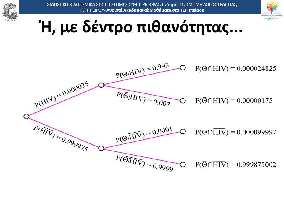 5353 -,, ΤΕΙ ΗΠΕΙΡΟΥ - Ανοιχτά Ακαδημαϊκά Μαθήματα στο ΤΕΙ Ηπείρου Ή, με δέντρο πιθανότητας...