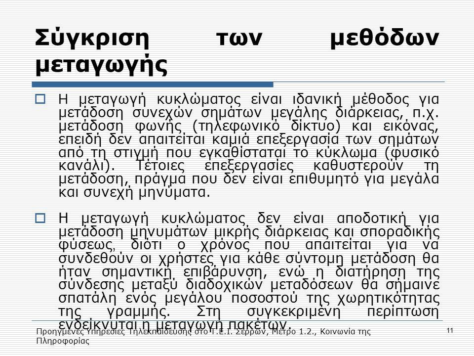 Προηγμένες Υπηρεσίες Τηλεκπαίδευσης στο Τ.Ε.Ι. Σερρών, Μέτρο 1.2., Κοινωνία της Πληροφορίας 11 Σύγκριση των μεθόδων μεταγωγής  H μεταγωγή κυκλώματος