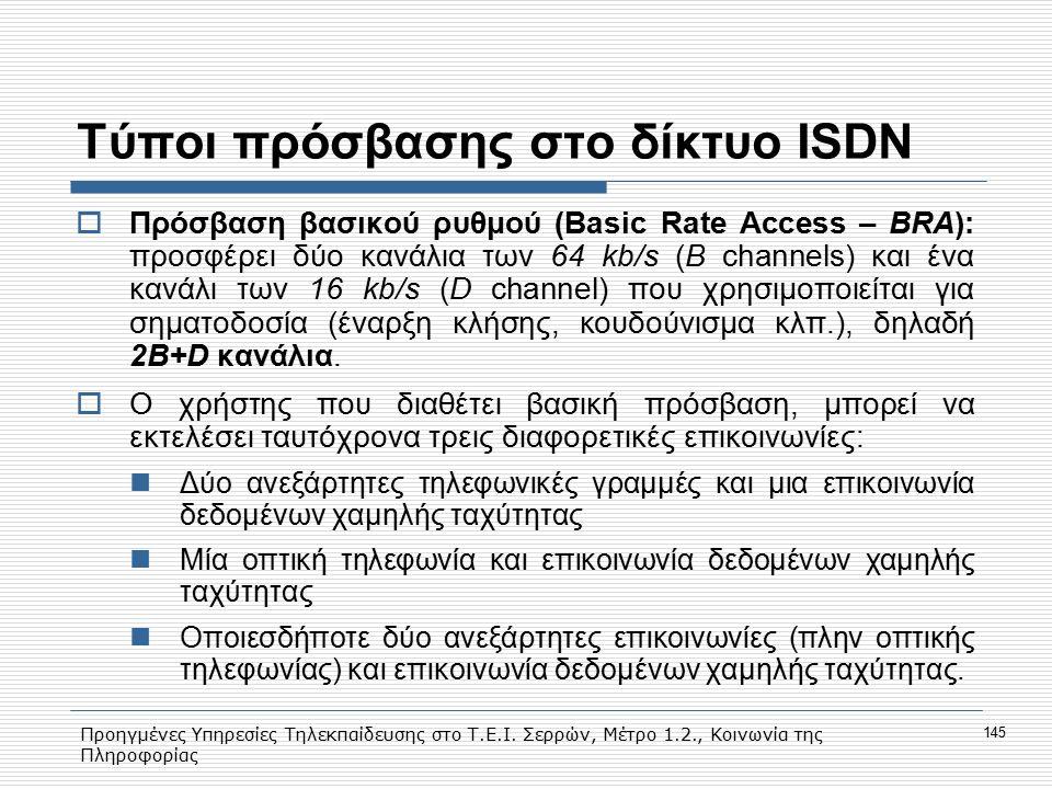 Προηγμένες Υπηρεσίες Τηλεκπαίδευσης στο Τ.Ε.Ι. Σερρών, Μέτρο 1.2., Κοινωνία της Πληροφορίας 145 Τύποι πρόσβασης στο δίκτυο ISDN  Πρόσβαση βασικού ρυθ